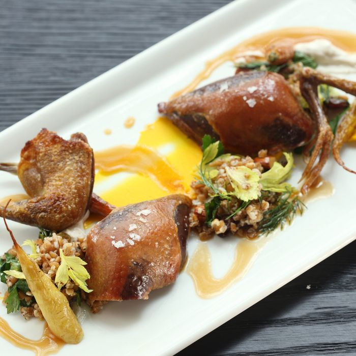 Dry-aged squab, roasted carrots, spiced yogurt, and bulgar-wheat salad with almonds and golden raisins.