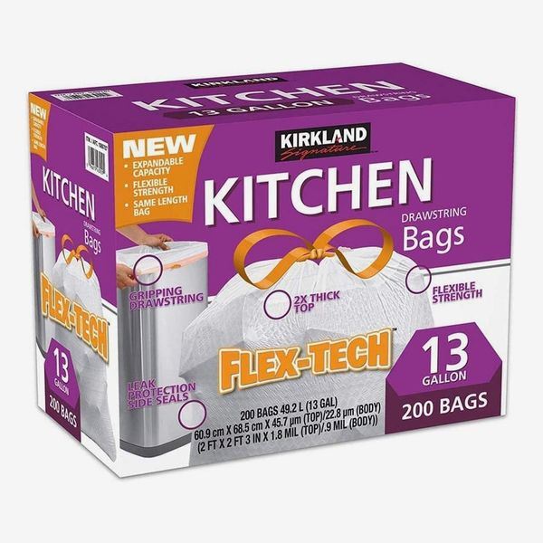 Kirkland Signature Flex-Tech 13-Gallon Kitchen Trash Bags, 200-Count