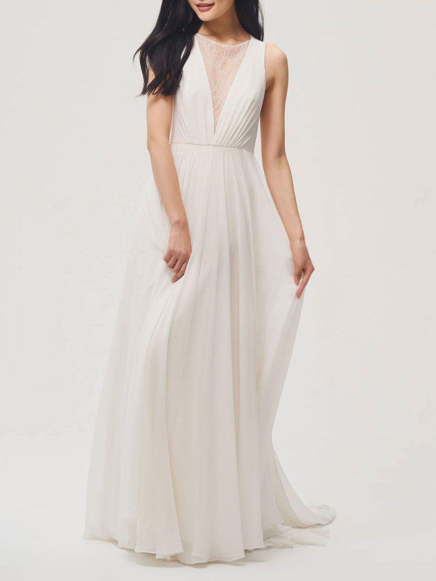 Jenny by Jenny Yoo Fallon Lace & Chiffon A-Line Gown