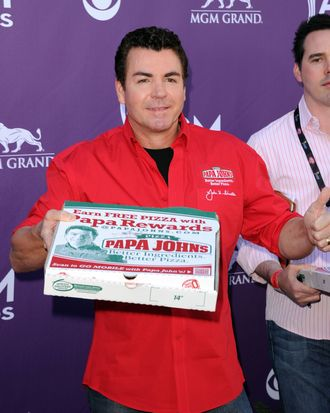 LAS VEGAS, NV - APRIL 01: Papa Johns Pizza Founder John Schnatter arrives at the 47th Annual Academy Of Country Music Awards held at the MGM Grand Garden Arena on April 1, 2012 in Las Vegas, Nevada. (Photo by Jason Merritt/Getty Images)