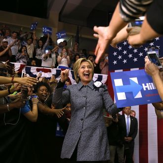 Hillary Clinton Campaigns In Illinois And North Carolina