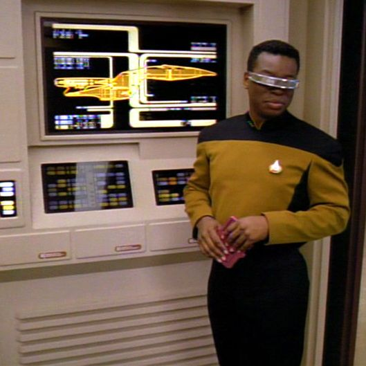 "LOS ANGELES - SEPTEMBER 27: STAR TREK: THE NEXT GENERATION. LeVar Burton as Lt. Commander Geordi LaForge in ""Liaisons"".  Season 7, episode 2.  Original airdate September 27, 1993. Image is a frame grab.  (Photo by CBS via Getty Images) *** local caption *** Geordi LaForge"