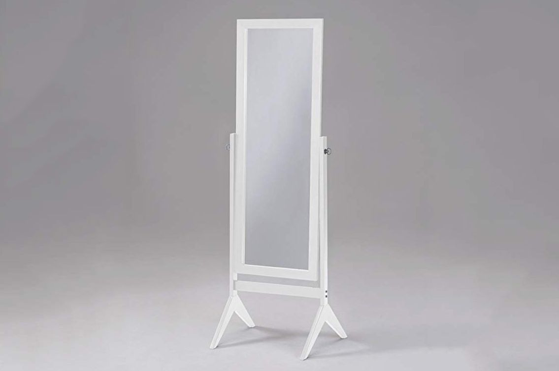 eHomeProducts White Finish Wooden Cheval Bedroom Free Standing Floor Mirror