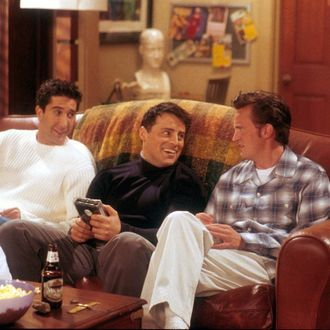 From left to right, David Schwimmer, as Ross, Matt LeBlanc, as Joey, and Matthew Perry as Chandler act in a scene from the television comedy