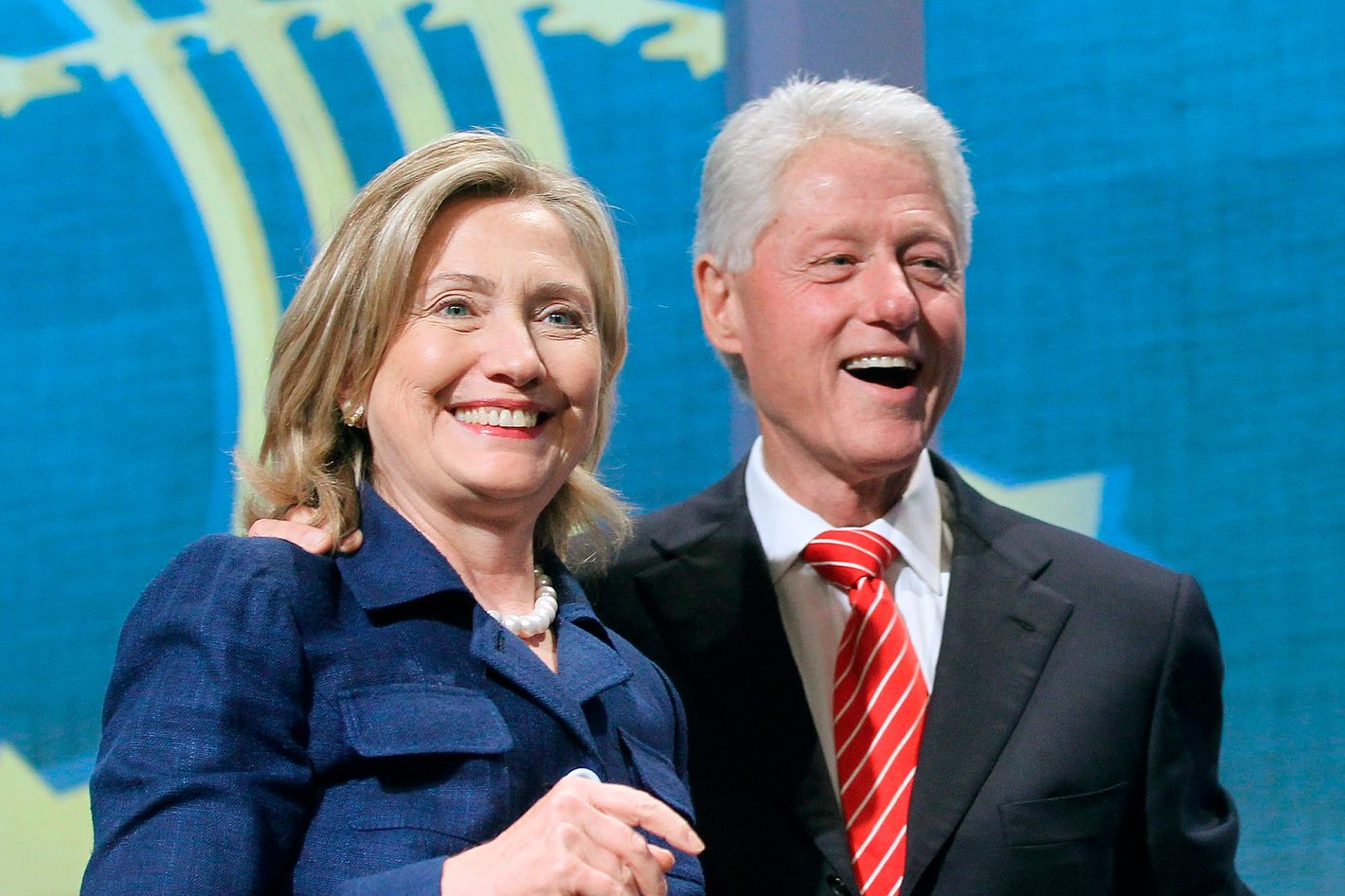 NEW YORK - SEPTEMBER 21:  Former U.S. President Bill Clinton (R) and U.S. Secretary of State Hillary Rodham Clinton smile during the annual Clinton Global Initiative (CGI) September 21, 2010 in New York City. The sixth annual meeting of the CGI gathers prominent individuals in politics, business, science, academics, religion and entertainment to discuss global issues such as climate change and the reconstruction of Haiti. The event, founded by Clinton after he left office, is held the same week as the General Assembly at the United Nations, when most world leaders are in New York City.  (Photo by Mario Tama/Getty Images)