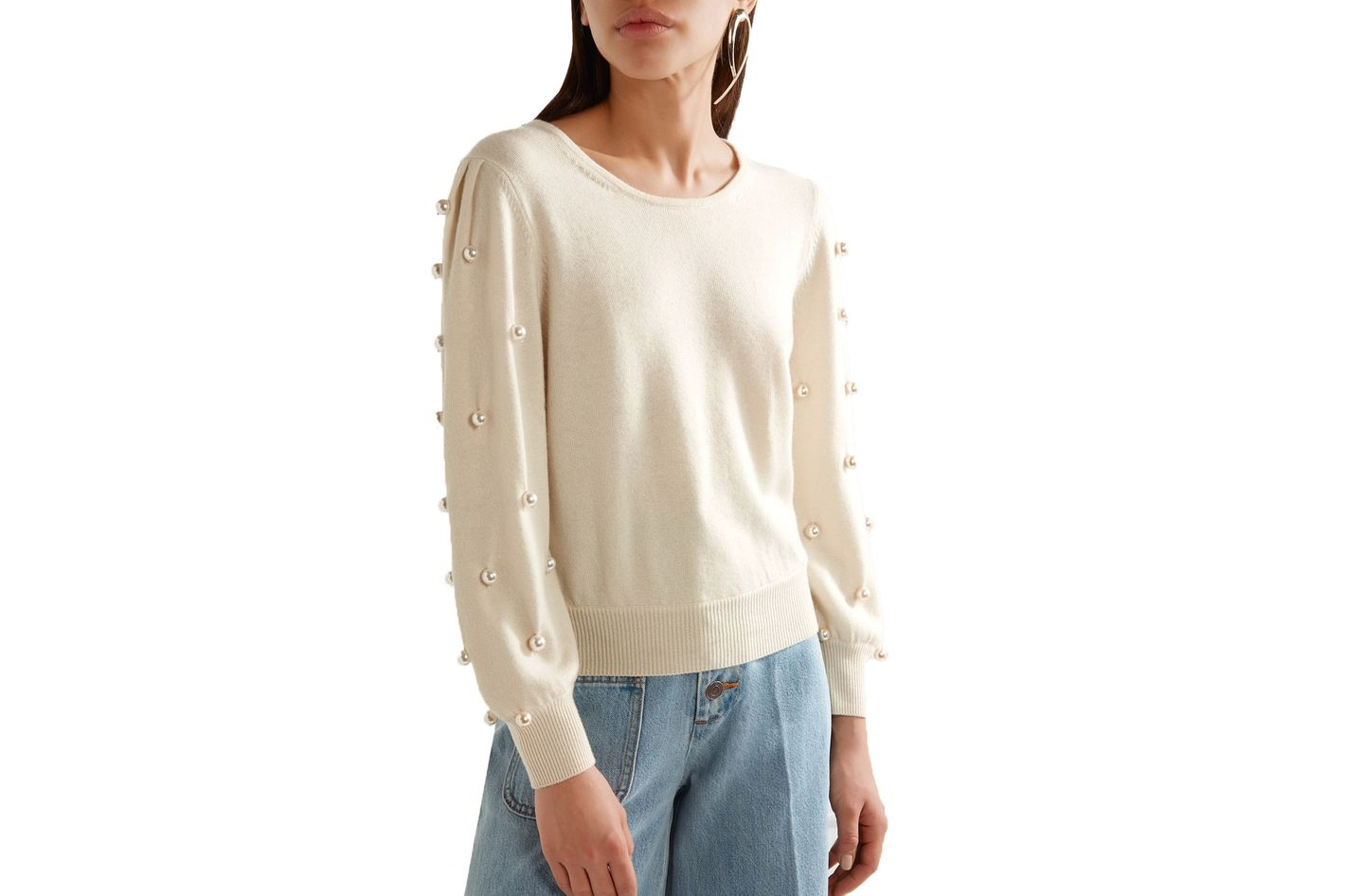 Marc Jacobs Faux Pearl-Embellished Wool-and-Cashmere-Blend Sweater