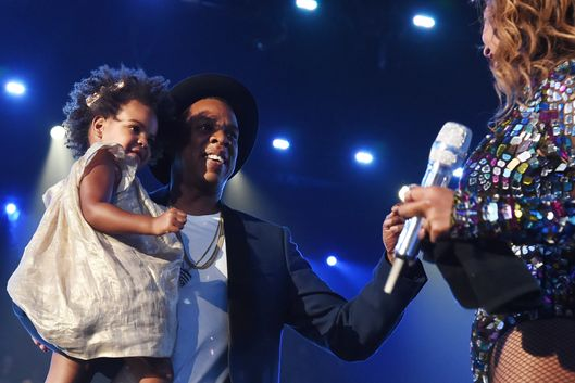 INGLEWOOD, CA - AUGUST 24:  (L-R) Blue Ivy Carter, recording artists Jay-Z, and Beyonc? performs onstage during the 2014 MTV Video Music Awards at The Forum on August 24, 2014 in Inglewood, California.  (Photo by Jeff Kravitz/MTV1415/FilmMagic)