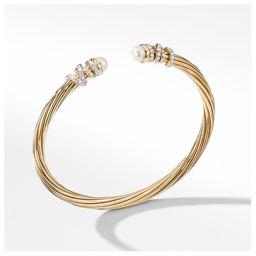 Helena End Station Bracelet in 18K Yellow Gold with Pearls and Diamonds
