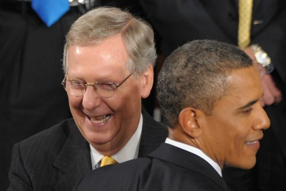Senate Minority Leader Mitch McConnell greets US President Barack Obama following Obama's address to a Joint Session of Congress about the US economy and job creation at the US Capitol in Washington, DC, September 8, 2011.  AFP PHOTO / Saul LOEB (Photo credit should read SAUL LOEB/AFP/Getty Images)