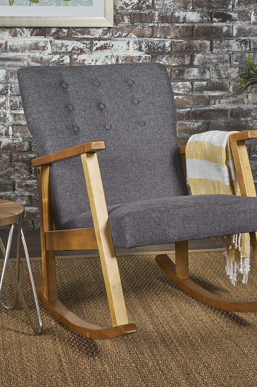 Hank Mid-Century Modern Gray Fabric Rocking Chair