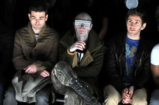 Rick Genest (C) attends the General Idea Fall 2012 fashion show