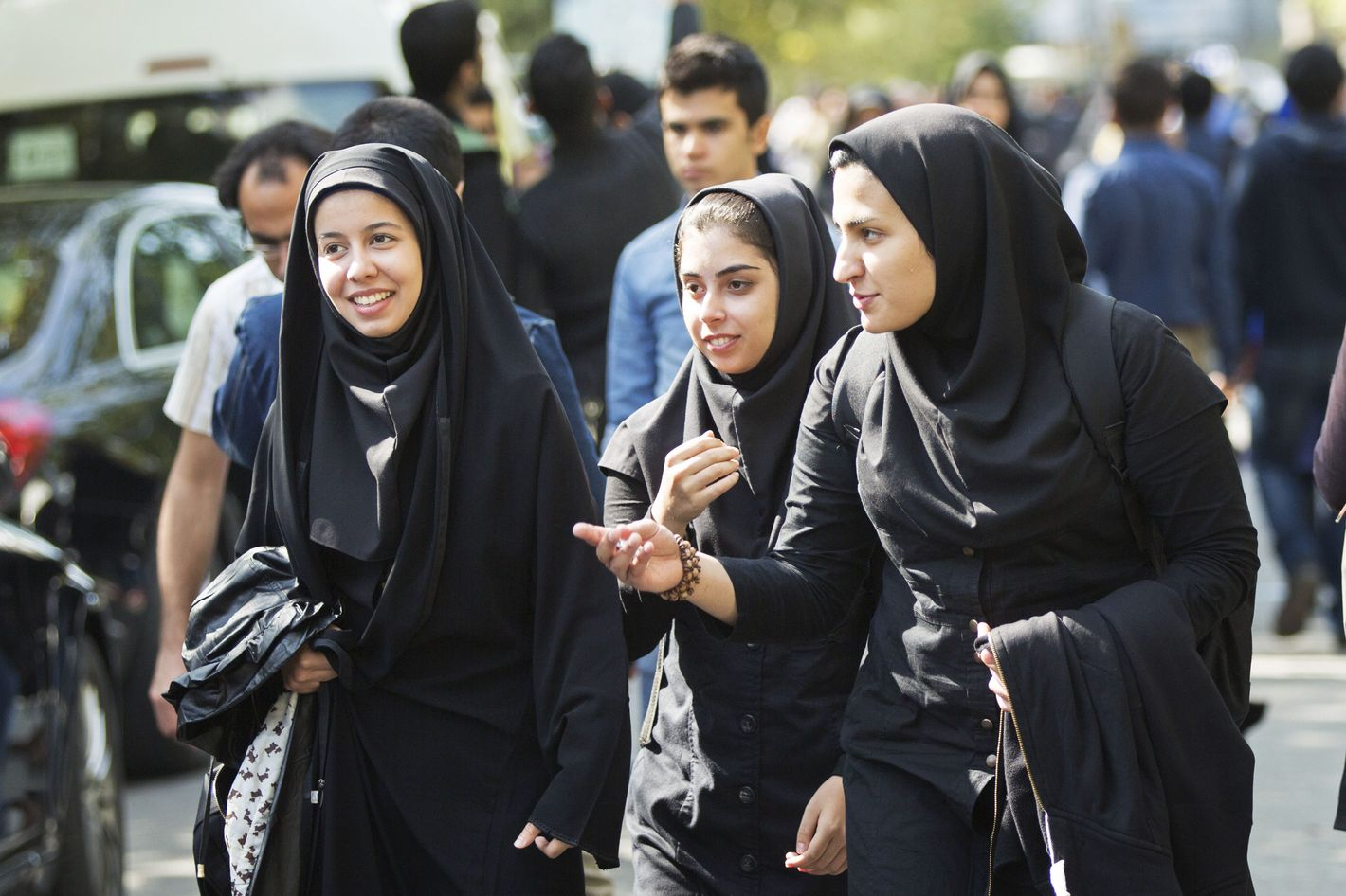 Iranian girls in black dresses