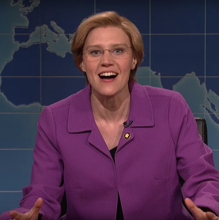 Kate McKinnon as Elizabeth Warren.