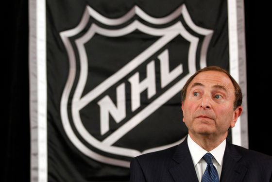 NHL commissioner Gary Bettman speaks to reporters after meeting with team owners, Thursday, Sept. 13, 2012 in New York.  The current collective bargaining agreement between the league and the players expires Saturday at midnight.  (AP Photo/Mary Altaffer)