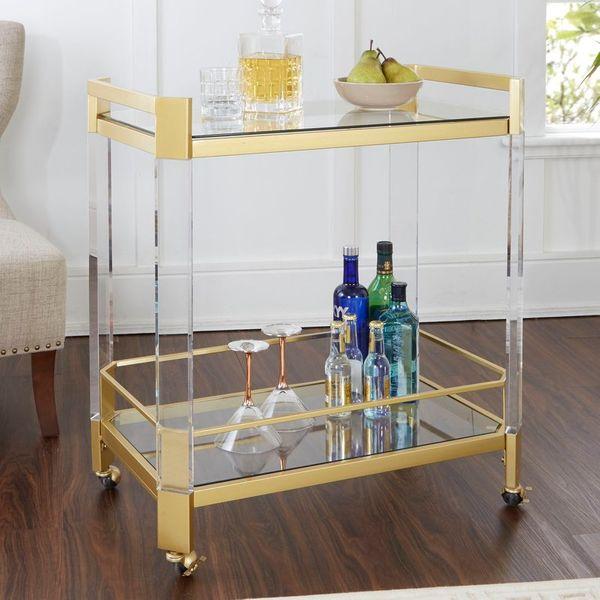 Mercer41 Luis Clear Glass Bar Cart