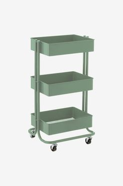 The Container Store Sage Green 3-Tier Rolling Cart