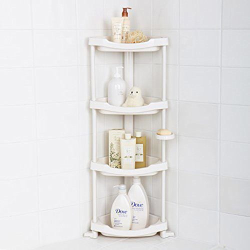 Tenby Living Corner Shower Caddy — 4-Shelf Shower Organizer Caddie