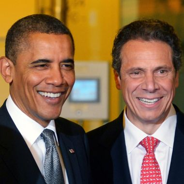US President Barack Obama smiles with New York Governor Andrew Cuomo (R) during a tour of the of Nanoscale Science and Engineering?s (CNSE) Albany NanoTech Complex at the State University of New York May 8, 2012 in Albany, NY.