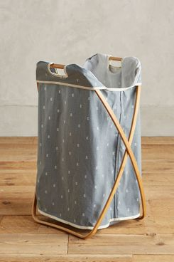Anthropologie Home Folding Bamboo Laundry Basket