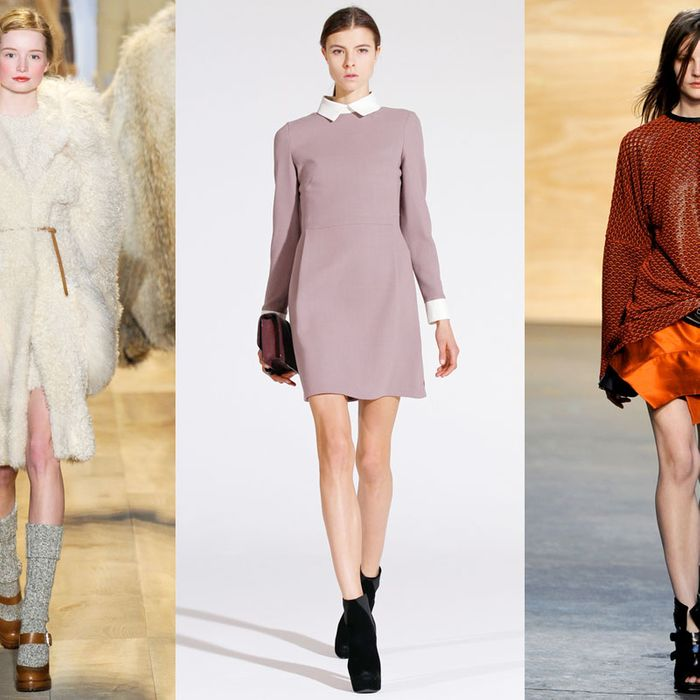 From left: looks from Michael Kors, Victory by Victoria Beckham, and Proenza Schouler