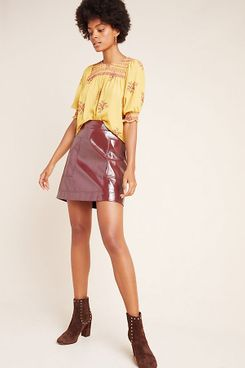 Maeve Faux Patent Leather Skirt