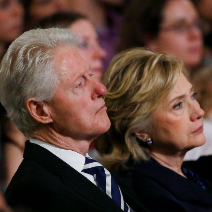 NEW YORK, NY - MAY 15: (L-R) Former U.S. president Bill Clinton and former U.S. Secretary of State Hillary Clinton attend the opening ceremony for the National September 11 Memorial Museum at ground zero May 15, 2014 in New York City. The museum spans seven stories, mostly underground, and contains artifacts from the attack on the World Trade Center Towers on September 11, 2001 that include the 80 ft high tridents, the so-called