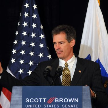 U.S. Republican Senate-elect Scott Brown from Massachusetts addresses the media January 20, 2010 at the Park Plaza Hotel in Boston, Massachusetts. Brown, a republican state senator, beat Massachusetts Attorney General Martha Coakley in a special election to fill the seat of late Senator Edward M. Kennedy. (Photo by Darren McCollester/Getty Images)