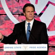 NEW YORK, NY - OCTOBER 27:  New York Governor Andrew Cuomo speaks on stage at the Empire State Pride Agenda's 20th Anniversary fall dinner at the Sheraton New York Hotel & Towers on October 27, 2011 in New York City.  (Photo by D Dipasupil/Getty Images)