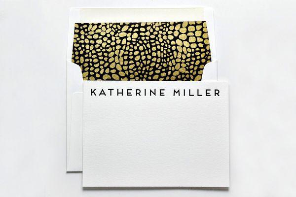 Haute Papier One Color Letterpress Custom Notecards