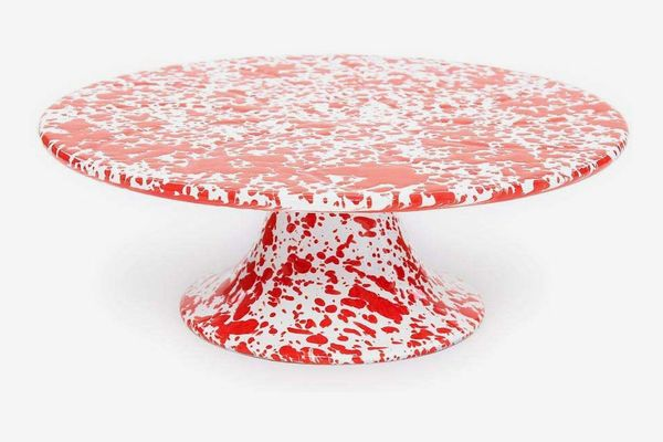 Crow Canyon Home Enamelware Cake Platter, 11 inch, Red/White Splatter