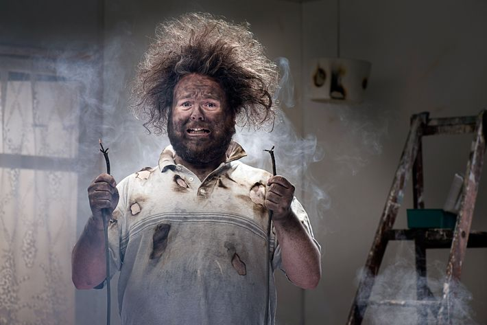 A man is frazzled after apparently shocking himself with wires.