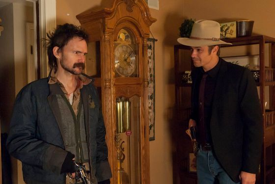 "JUSTIFIED: Episode 12 ""Coalition""  (Airs April 3, 10:00 pm e/p).  L-R: Jeremy Davies and Timothy Olyphant. CR: Prashant Gupta / FX."