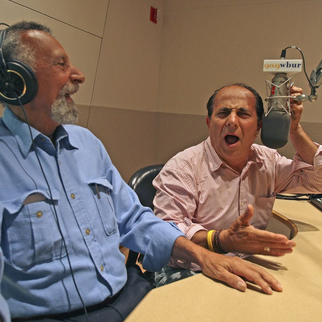 Tom and Ray Magliozzi of Car Talk, shot at WBUR offices after their taped show.