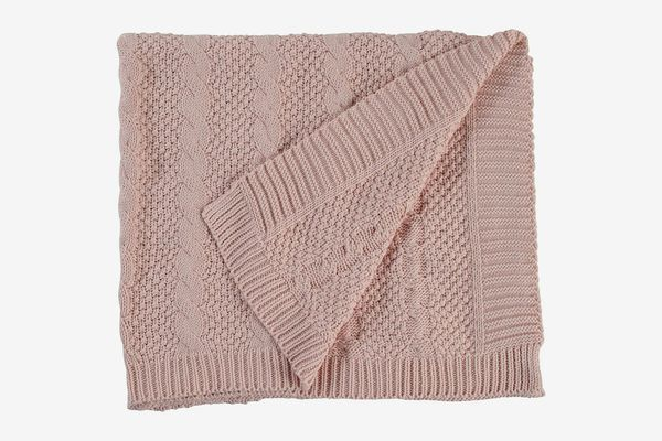 """Stone & Beam Transitional Chunky Cable Knit Throw, 70"""" x 40"""", Blush"""