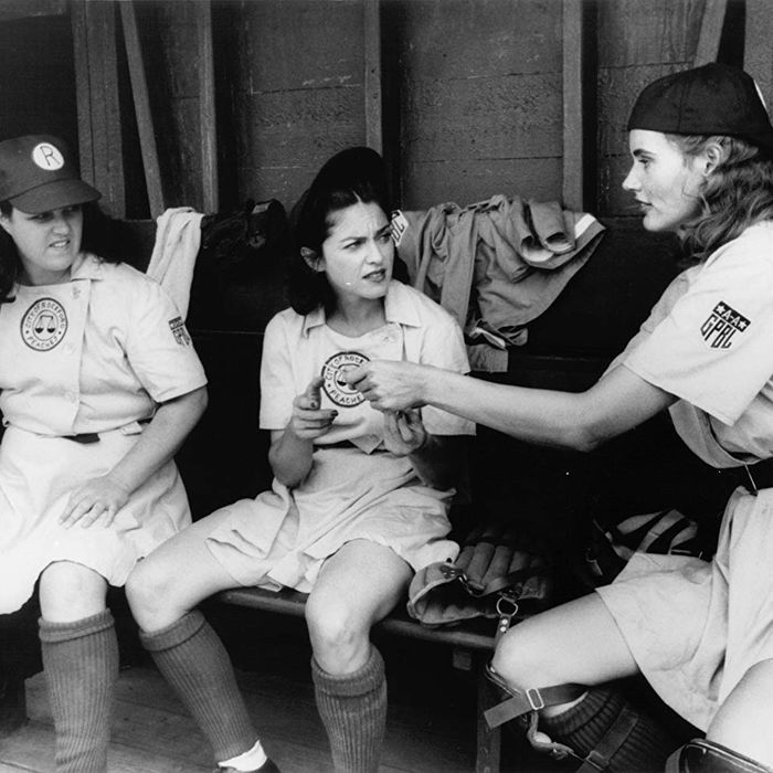 Rosie O'Donnell, Madonna, and Geena Davis in A League of Their Own.