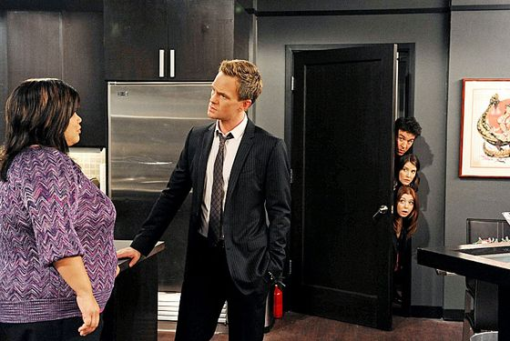 """The Over-Correction"" -- Robin becomes increasingly suspicious of Barney'™s (Neil Patrick Harris, center) relationship with Patrice (Ellen D. Williams, left), on HOW I MET YOUR MOTHER, Monday, Dec. 10 (8:00-8:30 PM, ET/PT) on the CBS Television Network."
