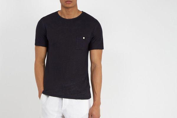 Hecho Crew-Neck Linen T-Shirt