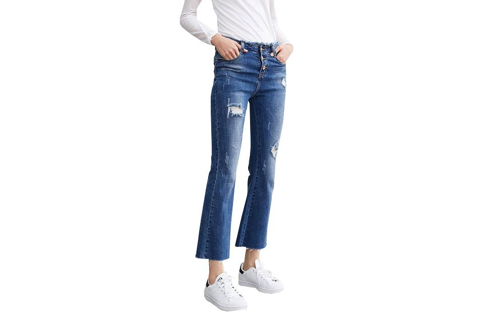 Genuine People Bell Bottom Crop Fit Jeans
