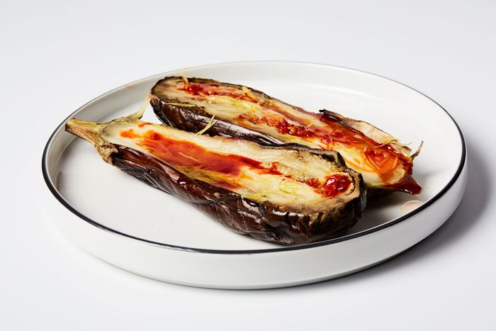 Whole roasted eggplant with Calabrian chile and lemon.