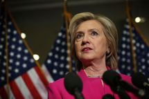 Presidential Candidate Hillary Clinton Attends Meetings With Legislators On Capitol Hill