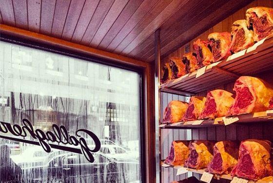 A peek inside the restaurant's refurbished meat locker.
