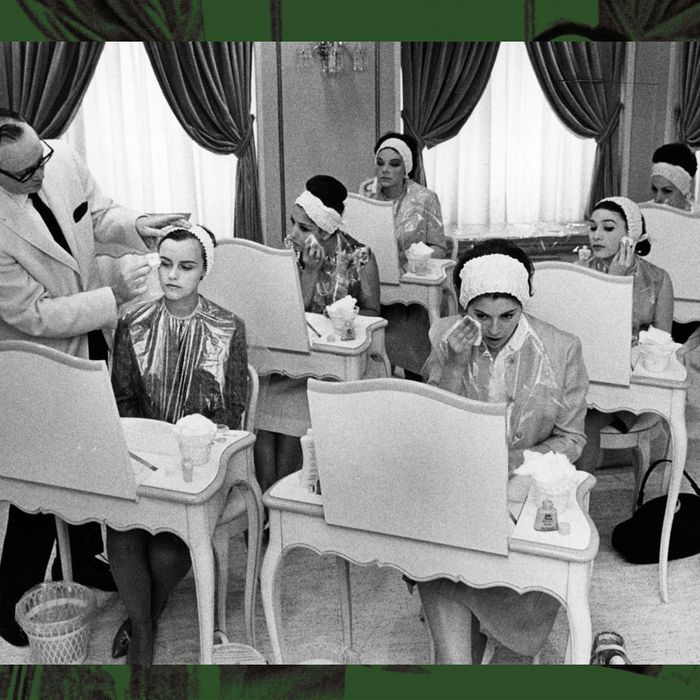black and white photo of 1950s women at beauty school - strategist best skin care products