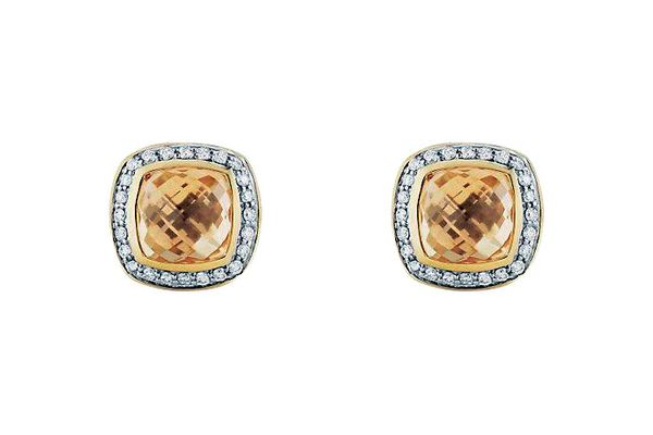 Champagne-citrine earrings in 18-karat yellow gold