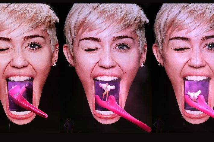 Miley Cyrus on her Bangerz tour, wearing designs by Es Devlin.