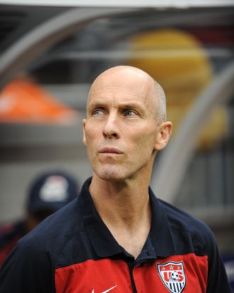 US soccer coach Bob Bradley stands on the sidelines during the CONCACAF 2011 Gold Cup semifinal match USA against Panama on June 22, 2011 at Reliant Stadium in Houston Texas. AFP PHOTO/Stan HONDA (Photo credit should read STAN HONDA/AFP/Getty Images)
