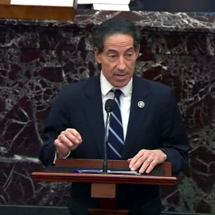 Representative Jamie Raskin, a Democrat from Maryland, speaks in the Senate Chamber, Feb. 10, 2021.