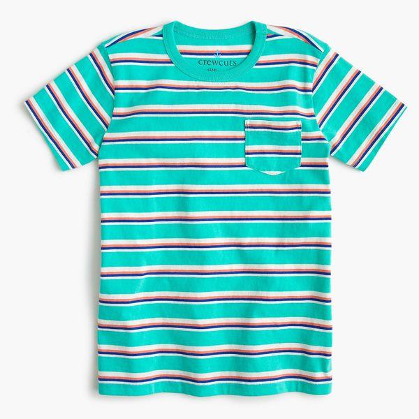 Kids' Pocket T-shirt in Aqua Stripe