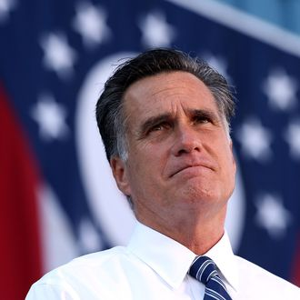 WORTHINGTON, OH - OCTOBER 25: Republican presidential candidate, former Massachusetts Gov. Mitt Romney speaks during a campaign rally at Worthington Industries on October 25, 2012 in Cincinnati, Ohio. Mitt Romney is campaigning in Ohio with less than two weeks to go before the election. (Photo by Justin Sullivan/Getty Images)