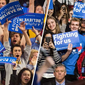 Bernie Sanders and Hillary Clinton Supporters