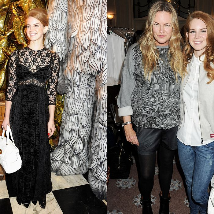Lana Del Rey with her new bag at Mulberry's after-party (left) and backstage with Emma Hill at the fashion show.